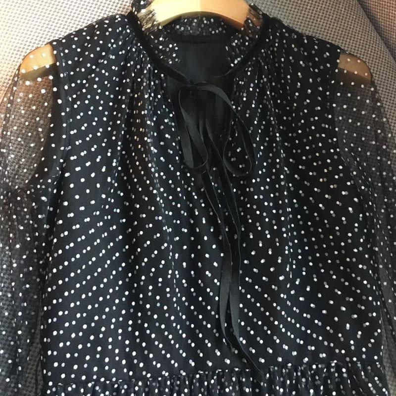 Femmes Papillon Longues Distributeur Dot Bureau D'été 2019 Imprimer Robe Mode Longue Robes Noir Élégant Dame De Nourriture Pour Femme x4APnwt1