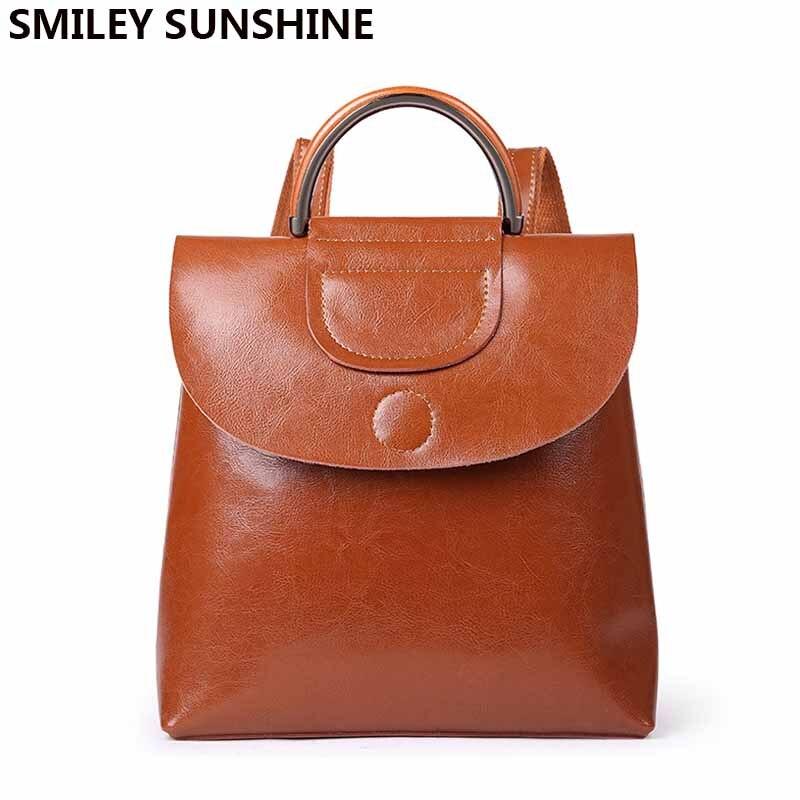 SMILEY SUNSHINE women leather backpack female genuine leather backpacks for girls bagpack ladies shoulder bag mochilas