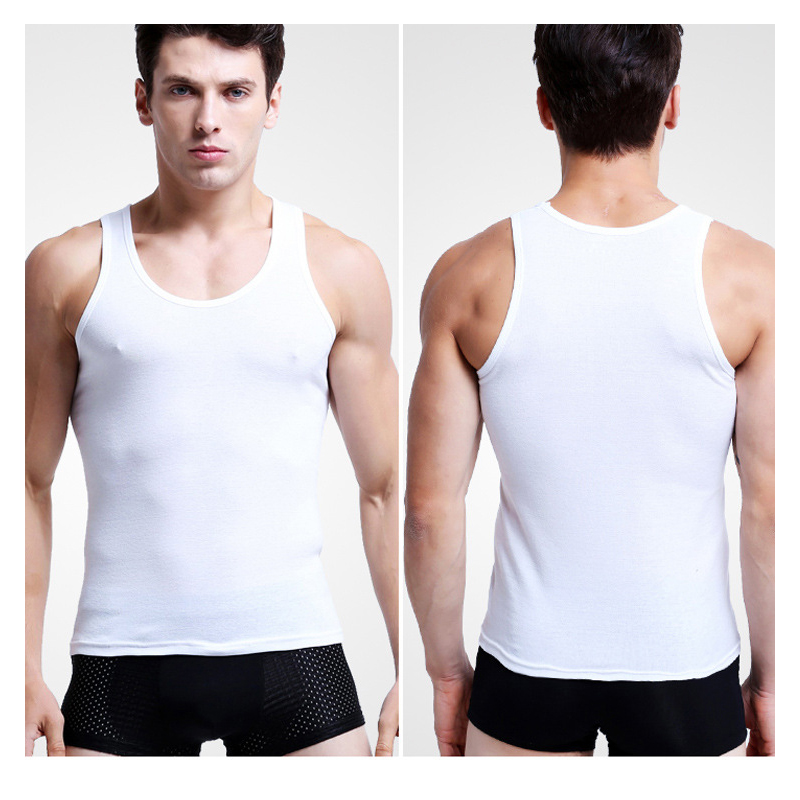 2pc/pack summer new fashion cotton comfortable vest solid backing air movement mens undershirts NO BALL NO FADE