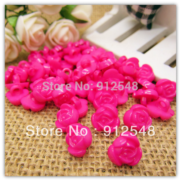 11mm 100pcs pink rose shape plastic buttons flower buttons for children garment ,mgh004