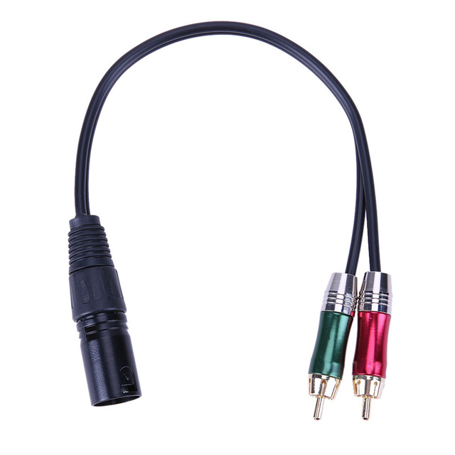 3pin XLR Male to 2 RCA Male Audio Adapter Cable Metal Audio Connector Cable Cord for Microphone DVD TV Stereo Audio Amplifier