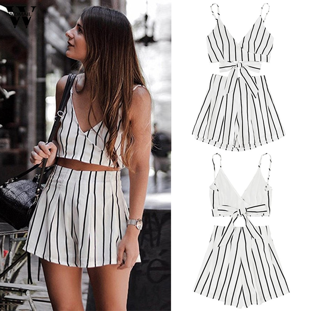 Womens 2 Piece Outfit Summer Striped V Neck Crop Cami Top with Shorts 6.19
