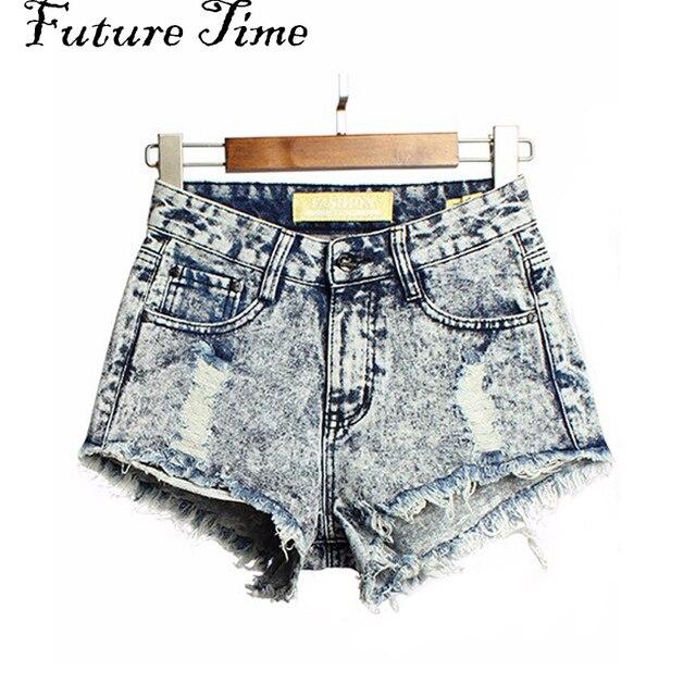 2017 Do Vintage Da Moda Borla das Mulheres Ripped sexy Short Jeans de Cintura Alta Do Punk Sexy Hot Denim Shorts Mulher frete grátis C0473
