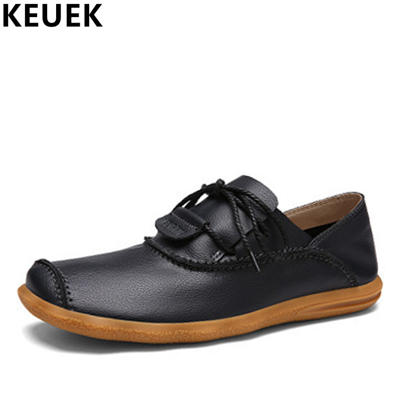 Casual Men Leather shoes Genuine leather Slip-On Loafers Spring Summer Fashion Bowknot Men Flats Handmade boat shoes 3A hot sale mens italian style flat shoes genuine leather handmade men casual flats top quality oxford shoes men leather shoes