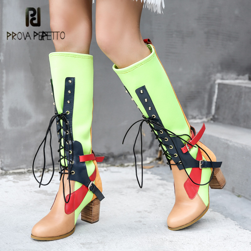 Prova Perfetto Mixed Color Women Knee High Boots Fashion Martin Boot Stretch Fabric Sock Boots Chunky High Heel Slim Fit Botas jady rose sexy black stretch fabric peep toe women thigh high boots chunky high heel over the knee boots slim fit sock boot