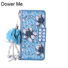 Dower Me ретро синий жемчуг цветок Флип Бумажник Сумочка Кожа цепи чехол для Samsung Galaxy Note 8 5 4 s8 S7 S6 Edge Plus