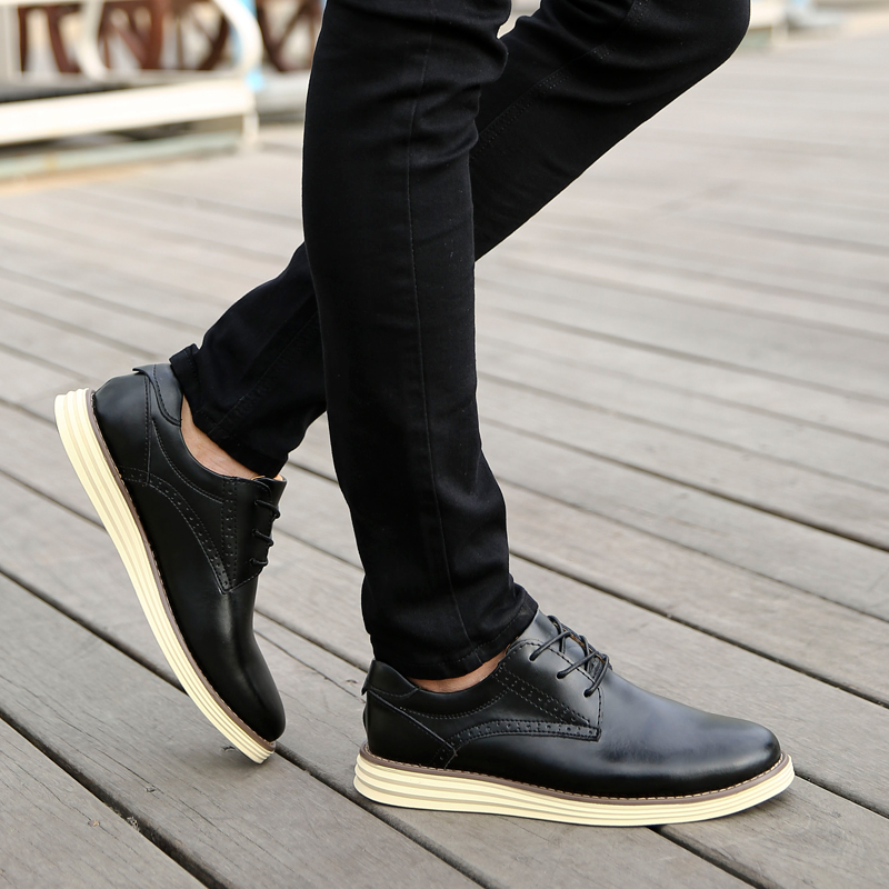 2016 New Winter Shoes Men Casual Shoes Low Lace-up Flats Business Leather Shoes Bullock Warm Fur Man Shoes Black Zapatos Homb 2016 new autumn winter man casual shoes sport male leisure chaussure laced up basket shoes for adults black
