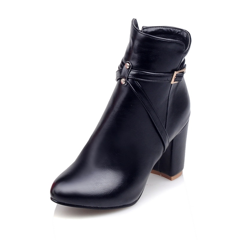 Brand New  Fashion Women Ankle Boots Red Black White Sexy Ladies Riding Shoes Square High Heels EMB09 Plus Big size 32 45 11 brand new fashion black yellow women knee high cowboy motorcycle boots ladies shoes high heels a 16 zip plus big size 32 43 10
