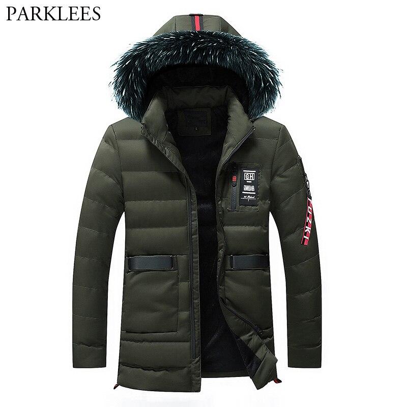 Big Fur Collar Hooded Jacket Men 2018 Winter Plus Velvet   Parka   Coat Thickening Outwear Man Windbreaker Warm Down Jackets Coats