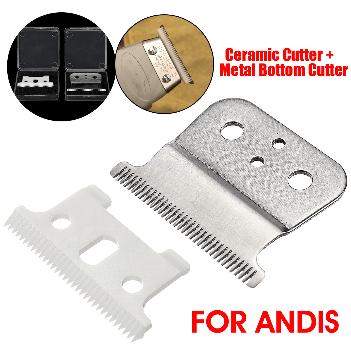 2pcs Strong Barber Ceramic Shop Cutter + Metal Bottom Cutter For Andis Electric Hair Trimmer Cutting Machine Clipper Accessories