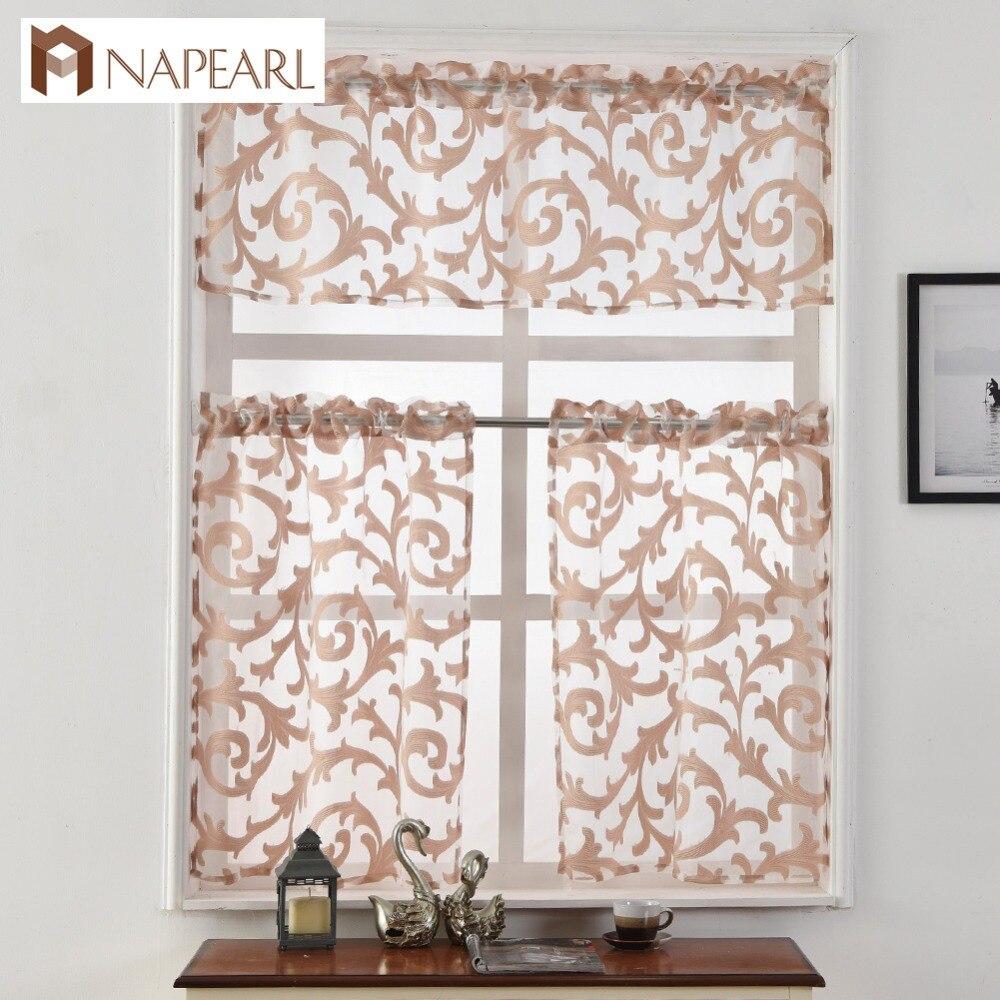 Organza Jacquard Sheer Curtain Short Kitchen European