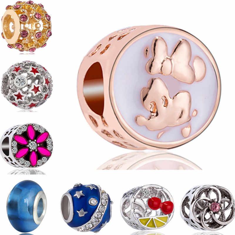 Dijes de estilo Simple, joyería para niños, ganado, cereza, Mickey, dijes de cuentas de esmalte, pulseras Pandora, accesorios de fiesta DIY para mujeres