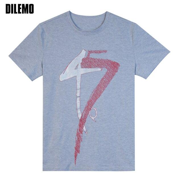 2017 летний новый fashion brand clothing men t рубашка тенденция 45 печать Slim Fit С Коротким Рукавом Футболки Мужчин Хлопка Случайные Футболки