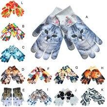 Женские перчатки guantes, мужские, сохраняющие тепло, 3D принт, вязаные, для экрана телефона, Китти, питомец, милые перчатки, удобные, rekawiczki, зимние перчатки L50