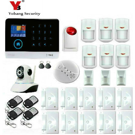 YobangSecurity Touch Screen WIFI GSM GPRS Wireless Home Burglar Security Alarm System HD IP Camera Pet Immune Detector Friendly wireless smoke fire detector for wireless for touch keypad panel wifi gsm home security burglar voice alarm system