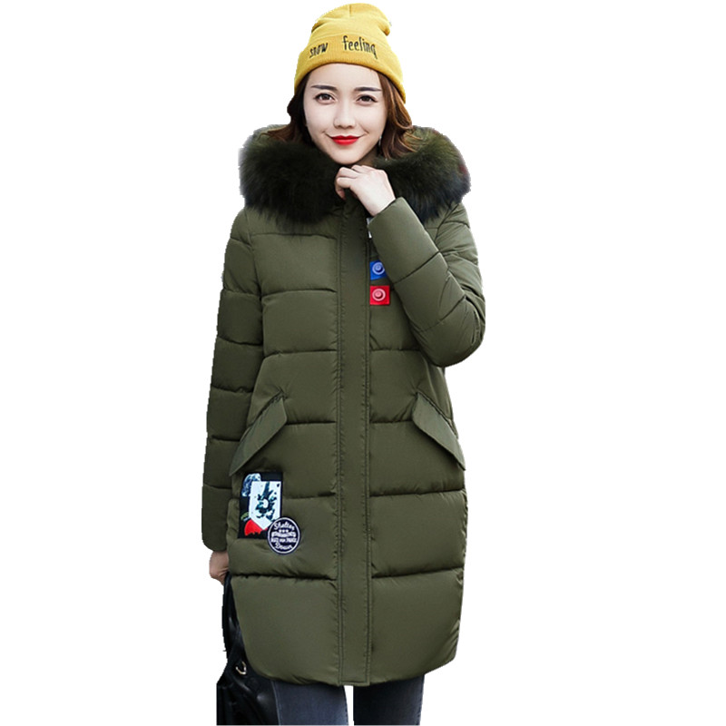 New Arrival 2017 Winter Jackets Women Coat Long Loose Parkas Female Warm Overcoat Large Fur Collar Thicken Jacket Coats CM1276 new winter jacket coats 2017 women parkas long slim thicken warm jackets female large fur collar hooded cotton parkas cm1350