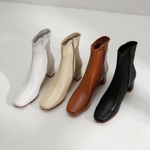Image 5 - סופרסטאר אמיתי עור רוכסן כיכר הבוהן גבוהה עקבים נשים קרסול מגפי מסלול קלאסיקות אופנה מגפי אלגנטי חורף נעלי L50