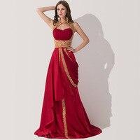 100% Real Photo Custom Made Red Embroidery Abaya In Dubai Kaftan Saudi Arabic Evening Dresses With Court Train Robe De Soiree