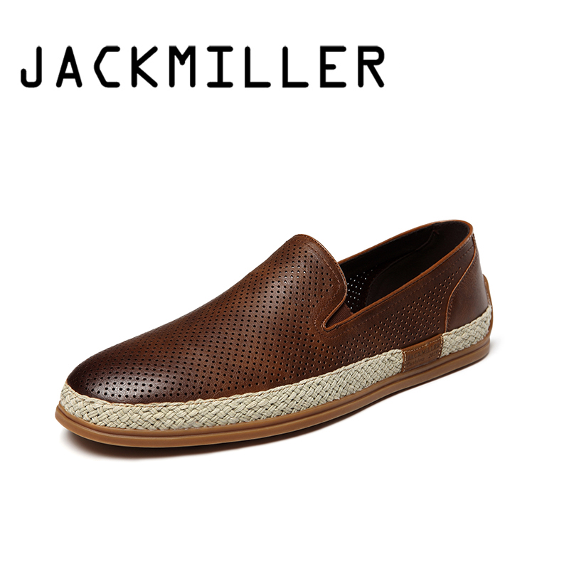 Jackmiller Top Brand Men Casual Shoes Super Light Men's Loafers Breathable with hole Flats Men Shoes Brown Hard Wearing TPR sole-in Men's Casual Shoes from Shoes    1