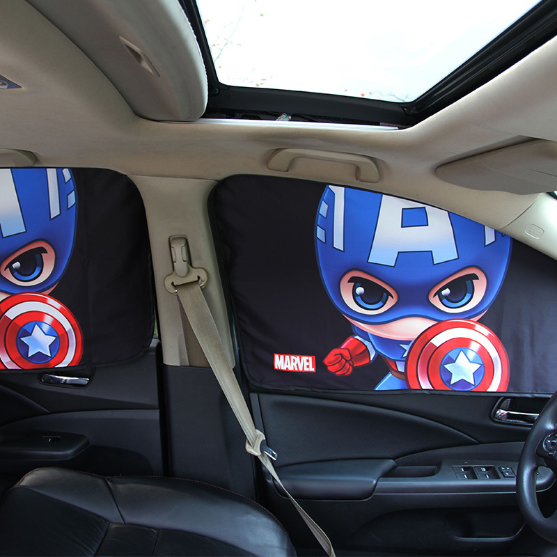 Car Window Sunshade Cover Marvel The Avengers Cartoon Magnetic Side Sun Shade Curtain Universal Side Window Sunshade