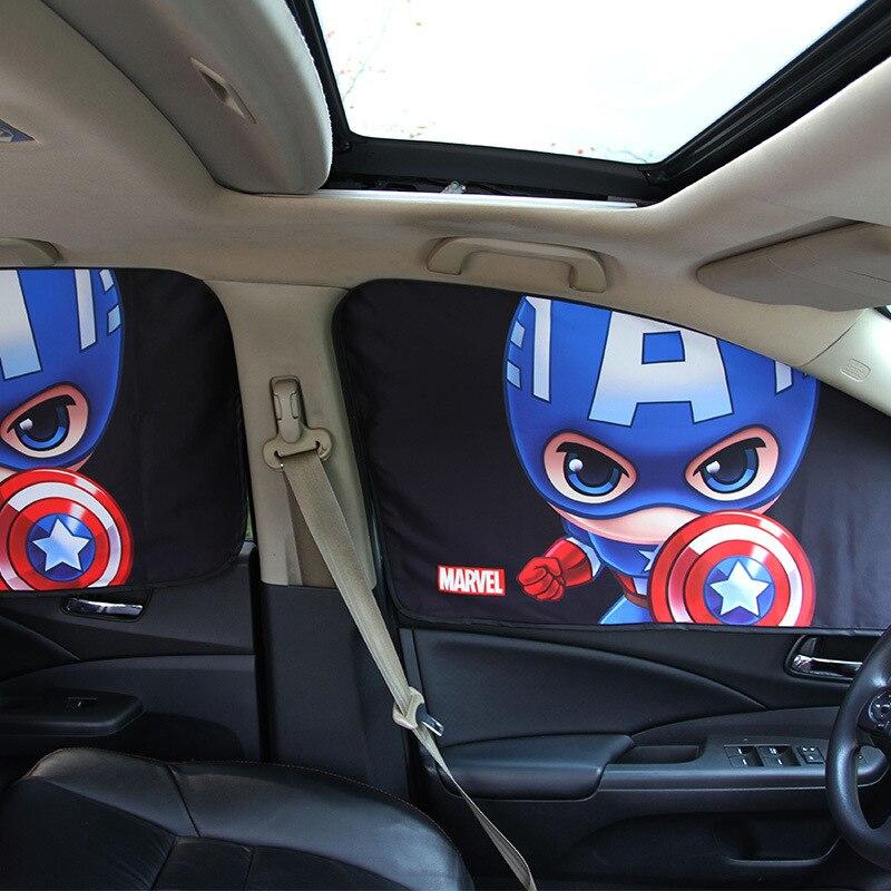 Pare-soleil de fenêtre de voiture couverture Marvel les Avengers dessin animé magnétique côté pare-soleil rideau universel fenêtre latérale pare-soleil
