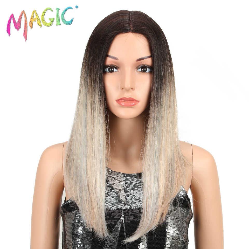 """Magia włosów 18 """"cali czarny srebrny złoty peruka prosto syntetyczna koronka przodu peruki dla kobiet naturalny kolor odporne na ciepło Futura do włosów"""