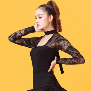 Image 4 - ファッション社交衣装レース長袖セクシーなラテンダンストップ女性用/女性/女性ダンサー、パフォーマンスの摩耗 YE0206