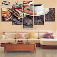 FULLCANG full square/round drill diy diamond painting cigar coffee & chocolate chip cookies 5 panel mazayka embroidery kit FC920