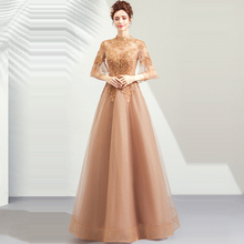 Evening Dress Gold High Collar Hollow Women Party Dresses Sexy Lace Robe De Soiree 2019 Plus Size Half-sleeve Gowns E651