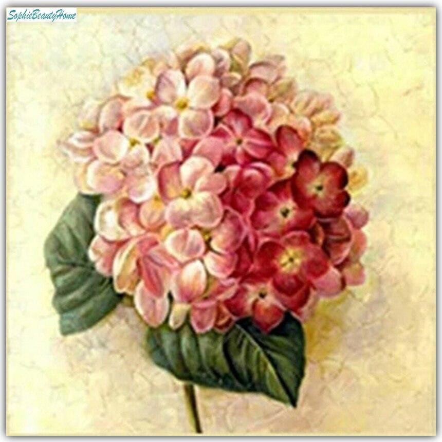 Софи красоты дома 5d Алмазная мозаика Гортензия алмазной вышивки швейный набор DIY Краск ...