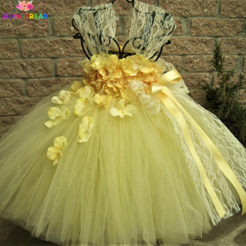 POSH DREAM Yellow Lace and Flower Petals Kids Girl Tutu Dress Yellow Dress Flower Girl Pageant Empire Waist Dress Baptism Gown