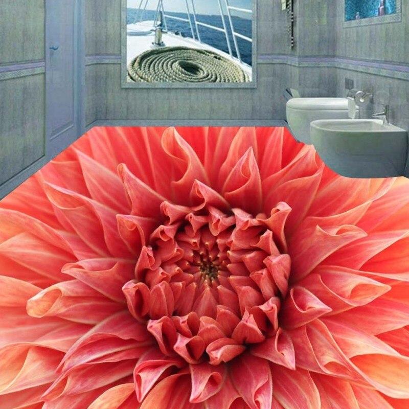 Free Shipping 3D flooring blooming flowers picture waterproof hallway self-adhesive aisle floor wallpaper mural free shipping flowering blooming artistic tea for gift 100