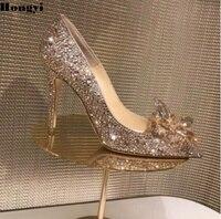 נעלי ערב מסיבת חתונה סינדרלה זהב ריינסטון אשת עקבים גבוהים להחליק על משאבת נשים פגיון בוהן מחודד