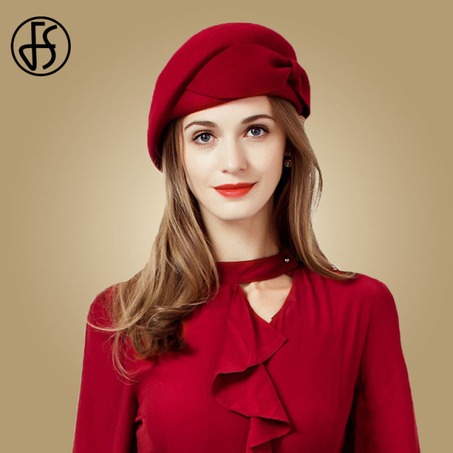 FS Ladies Red Wedding Hat For Women Vintage 100% Wool Felt Pillbox Hats Black Fascinator Winter Fedoras Bow Beret Church Hats