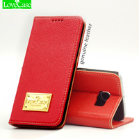 Brand Real Genuine Leather Case For Samsung Galaxy Note 5 Note5 Business Cell Phone Magnet Card
