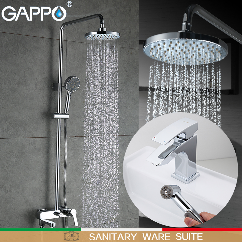 GAPPO Shower Faucets shower tap faucet bathroom mixer basin faucet water sink tap rainfall shower set Sanitary Ware Suite