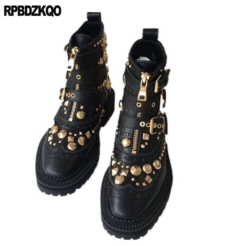 ece0041a45c US $124.03 36% OFF|Spike Motorcycle Stud Black Rivet Metal Shoes Combat  Booties Military Embellished Chunky Handmade Biker Women Punk Rock Boots-in  ...