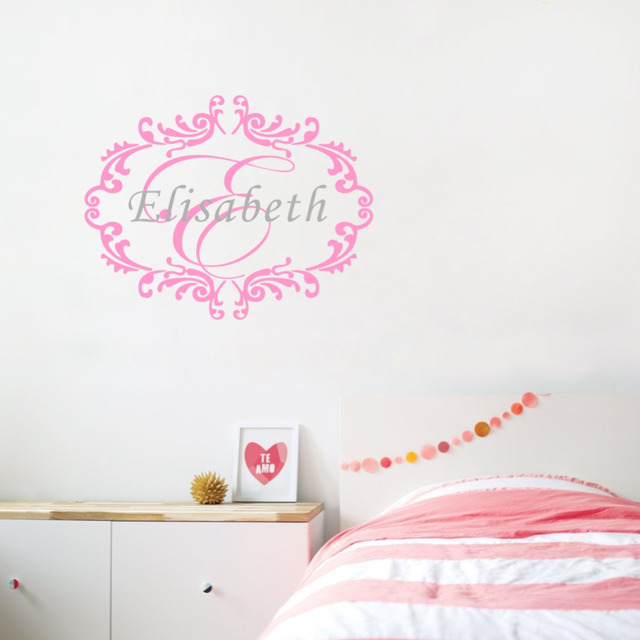 Personalized Name Wall Sticker frame and Initials Wall Decal Vinyl ...