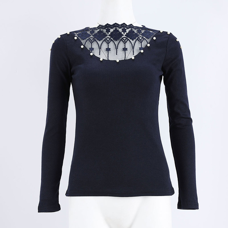 Beading Lace Applique Embellished V-cut Top Sexy Mesh Sheer Pearls Blouse Autumn Fashion Grey Tops Femme Long Sleeve Shirt Women Women's Clothing
