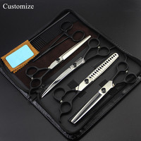 Customize professional 6 kit Japan 7 inch Pet dog grooming hair scissors thinning shears cutting barber hairdressing scissors