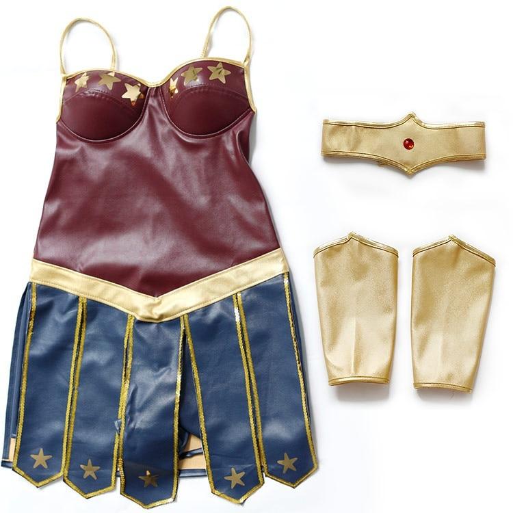 Halloween Adult Women Leather Wonder Woman Costume Girl Super Hero Fancy Dress Heroine Costume S-3XL