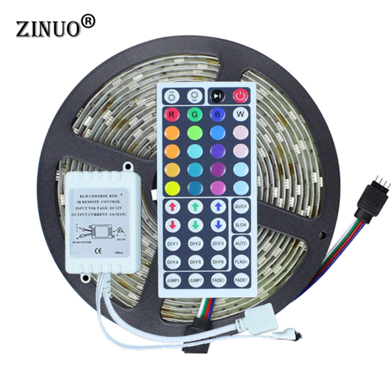 Outdoor Led Light With Remote: ZINUO 5M LED Strip Light 5050 RGB 150Leds Waterproof IP65