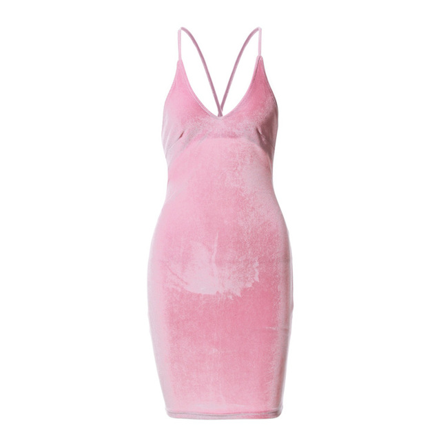New Sexy Women Backless Dress Strap Bandage Velour Velvet Bodycon Dresses Plus Size Solid Stretch Club Party Dress