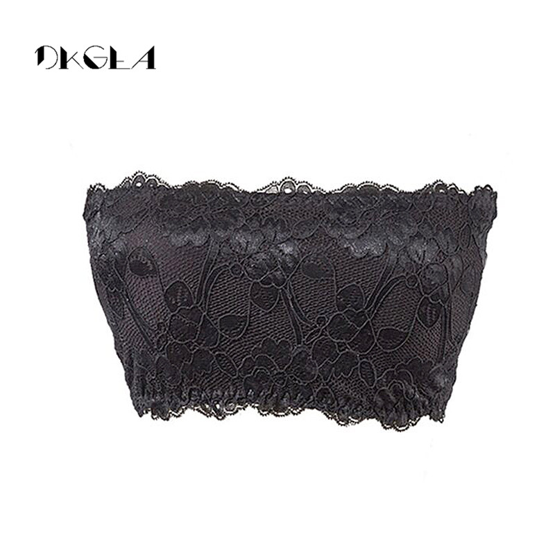 Sexy Women Strapless Underwear Solid Wrapped Chest Strapless Anti Emptied Chest Pad Lace Tube Top Embroidery Lace Bandeau White 6