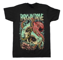 Printed T Shirts Online Fashion Parkway Drive Sharktopus Men Short Sleeve O-Neck