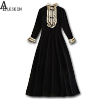 Brief European Dresses 2017 Autumn Winter Fashion New Casual Ruffles Full Flare Sleeve Patchwork Ankle Length