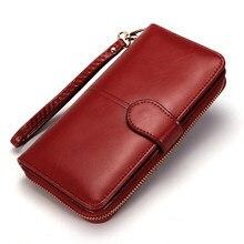7178fde1d Mujeres billetera de cuero tarjeta monedero Clip largo embrague del mitón  del teléfono Trifold cremallera Cash
