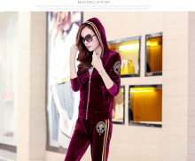 NEW plus size Women Autumn Korean version of casual sweater Slim velvet  suit