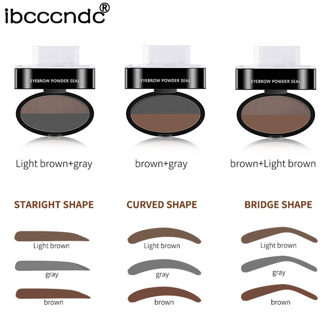 Drop shipping Eyebrow Powder Seal Eyebrow Shadow Set Waterproof Eyebrow Stamp Natural Shape Brow Stamp Powder Palette Delicated 2