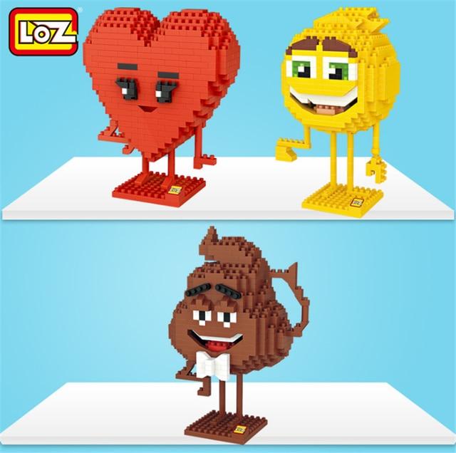 loz blocks anime miss red heart smiley poo shape emoji diamond